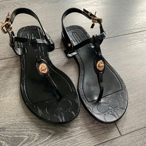Coach Pier Shiny Jelly Sandals - Black, Size 5